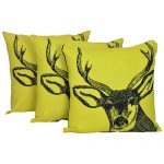 Set of 3 Swamp Deer Print Yellow Cotton Cushion Cover