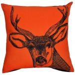 Set of 3 Swamp Deer Printed Cotton Orange Cushion Cover