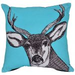 Set of 3 Blue and Black Swamp Deer Print Cotton Cushion Cover