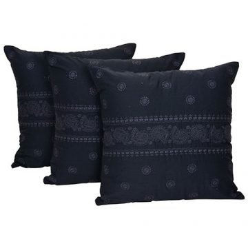 Set of 3 Black Machine Embroidered Cotton Cushion Cover