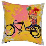 Set of 3 Multi Color Bicycle Print Cotton Cushion Covers