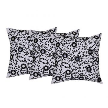 Set of 3 Contemporary White and Black Cotton Cushion Covers