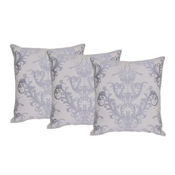 Set of 3 White and Grey Cotton Cushion Covers