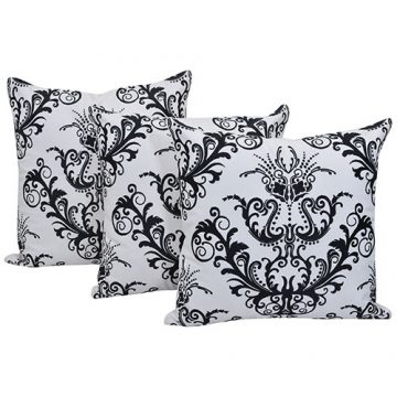 Set of 3 Black and White Cotton Cushion Cover