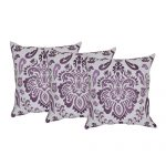 Set of 3 Organic Cotton White and Purple Embroidered Cushion Covers
