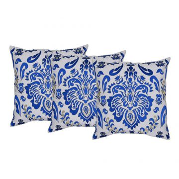 Set of 3 Blue and White Cotton Cushion Cover