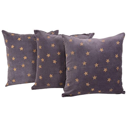 Set of 3 Velvet Grey Color Designer Cushion Cover