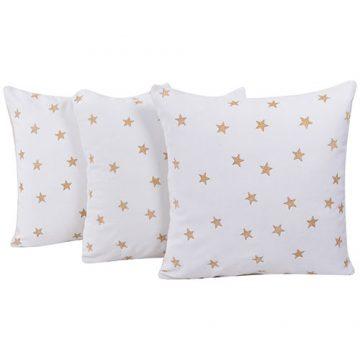 Set of 3 Velvet White Cushion Covers