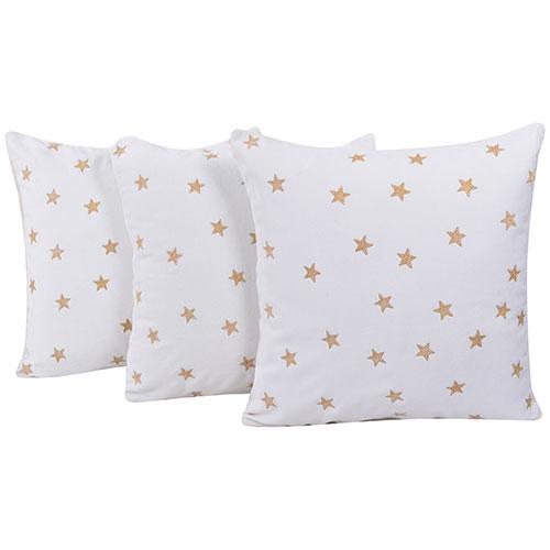 Set of 3 Yellow Star Printed White Velvet Cushion Covers