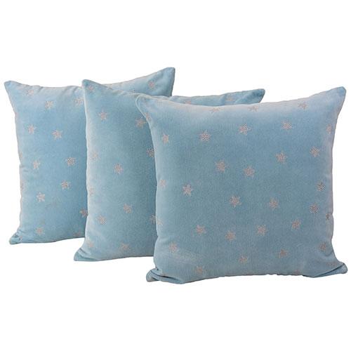 Machine Embroidered Velvet Blue Color Set of 3 Velvet Cushion Cover