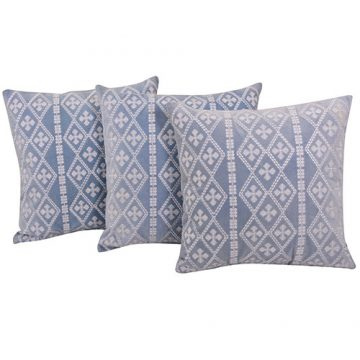 Machine Embroidered Light Blue Color Set of 3 Velvet Cushion Cover