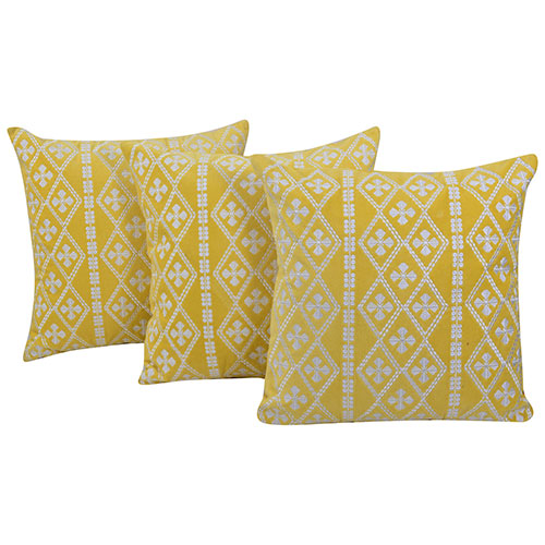 Machine Embroidered Velvet Yellow Color Set of 3 Cushion Cover