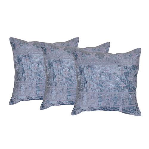 Machine Embroidery Poly Velvet Grey Color Set of 3 Cushion Cover