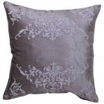 Set of 3 White Embroidered Velvet Grey Cushion Covers