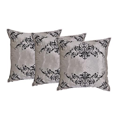 Set of 3 Embroidered Grey Velvet Cushion Cover