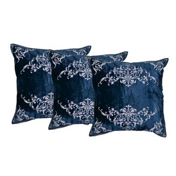 Machine Embroidered Velvet Blue Color Set of 3 Cushion Cover