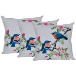 Set of 3 Multi Color Digital Birds Printed Cotton Cushion Cover