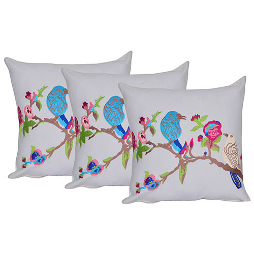 Set of 3 Bird Embroidery White Cotton Cushion Cover