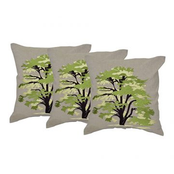 Machine Embroidered Chambray Multi Color Set of 3 Cushion Cover