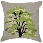 Green Tree Machine Embroidered Chambray Set of 3 Cushion Cover