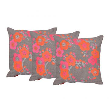 Floral Embroidered Chambray Multi Color Set of 3 Cushion Cover