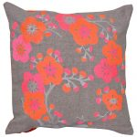 Machine Embroidered Chambrey Multi Color Set of 3 Cushion Cover
