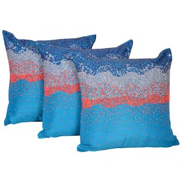 Multi Color Set of 3 Raw Silk Cushion Covers