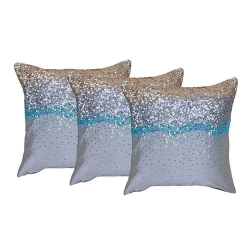 Set of 3 Multi Color Raw Silk Cushion Covers