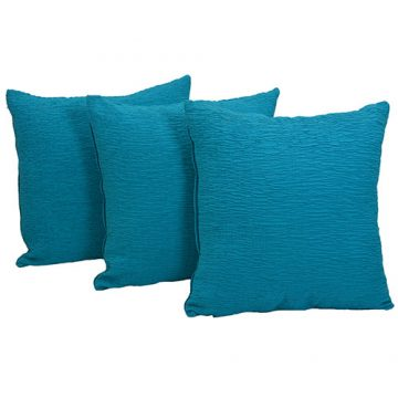 Set of 3 Blue Cotton Cushion Covers