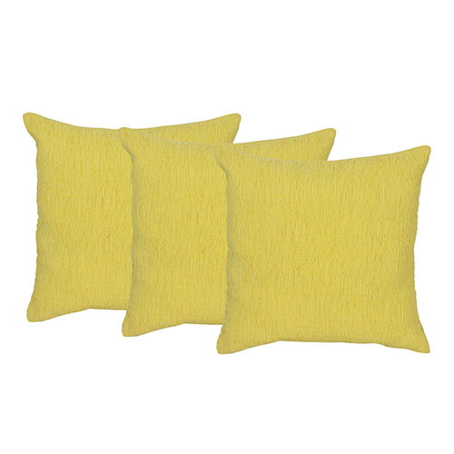 Set of 3 Yellow Cotton Cushion Cover