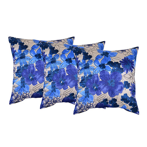 Set of 3 Blue Poly Silk Cushion Cover