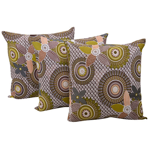 Set of 3 Multi Color Geometric Pattern Cotton Cushion Cover