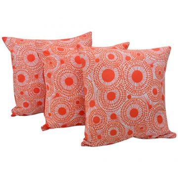 Set of 3 Orange Organic Cotton Cushion