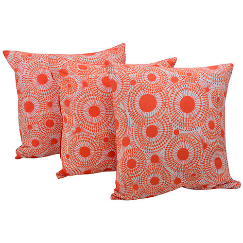 Set of 3 Orange Organic Cotton Cushion