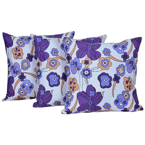 Multi Color Set of 3 Digital Flower Print Cotton Cushion Covers