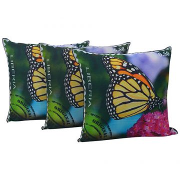 Set of 3 Multi Color Butterfly Print Black Dupion Silk Cushion Cover