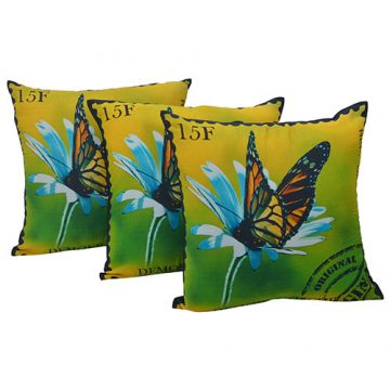 Set of 3 Multi Color Butterfly Print Dupion Cushion Cover
