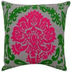 Set of 3 Pink & Green Embroidered Chambray Cotton Cushion Cover