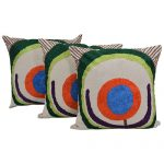 Aari Embroidered Set of 3 Chambray Cotton Cushion Cover