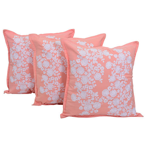 Set of 3 Twill Pink and White Embroidered Cotton Cushion Cover