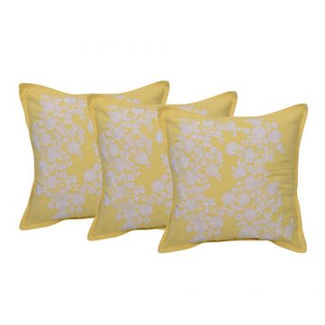 Set of 3 Twill Yellow and White Cushion Cover
