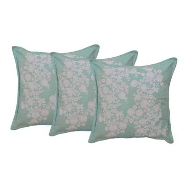 Set of 3 Twill Mint Green Embroidered Cotton Cushion Cover