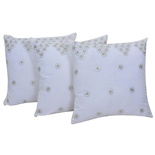 Set of 3 White Embroidered Suede Cushion Cover