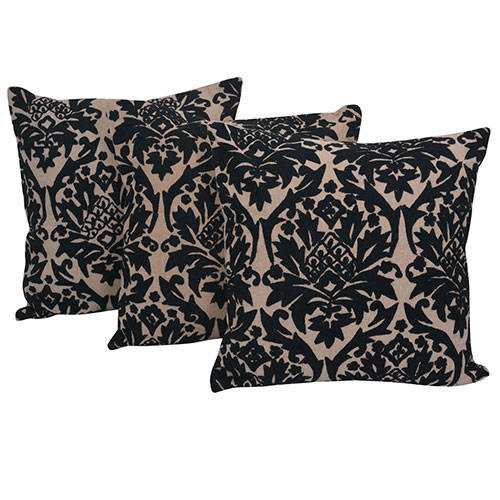 Set of 3 Beige and Black Cotton Cushion Cover