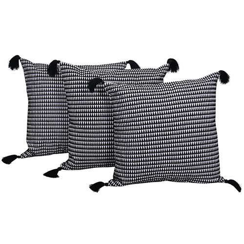White and Black Set of 3 Cotton Cushion Cover