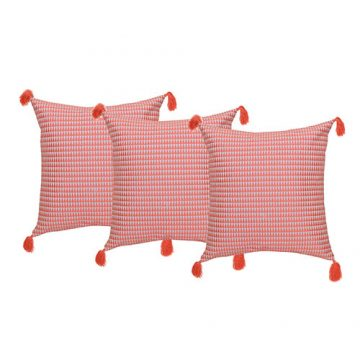 Set of 3 Peach Cotton Cushion Cover