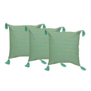 Set of 3 Organic Cotton Green Cushion Cover