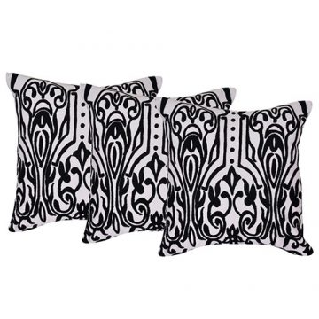 Set of 3 Cotton Aari Woollen Embroidered Cotton White & Black Color Cushion Cover