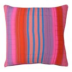 Set of 3 Multicolored Strips Cotton Voile Cushion Covers