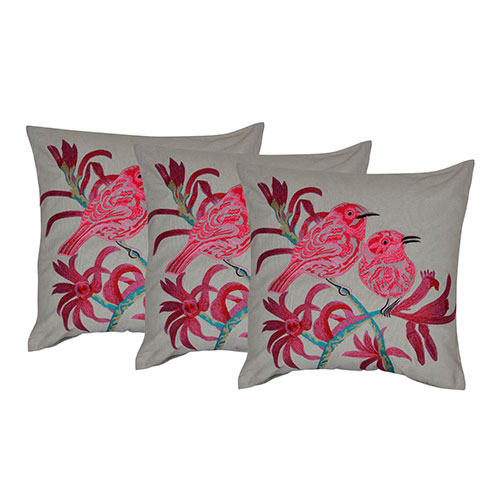 Set of 3 Embroidered Cotton Cushion Cover